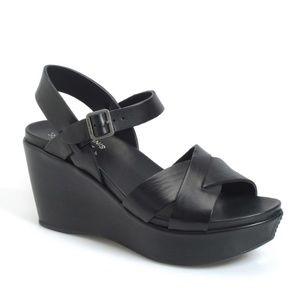 Kork-Ease Ava Black Platform Sandals 8